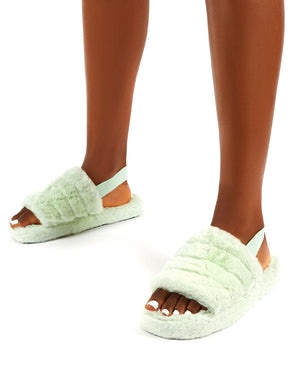 Dreamtime Mint Fluffy Strap Back Slippers