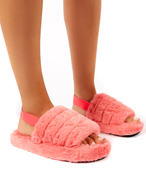 Dreamtime Pink Fluffy Strap Back Slippers