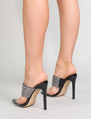 Galileo Perspex and Diamante Mules in Black
