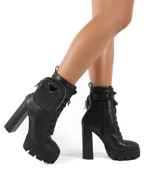 Hallucinate Black Pu Pocket Detail Block Heel Ankle Boot