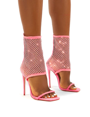 Double Take Pink Fishnet Ankle Stiletto High Heels