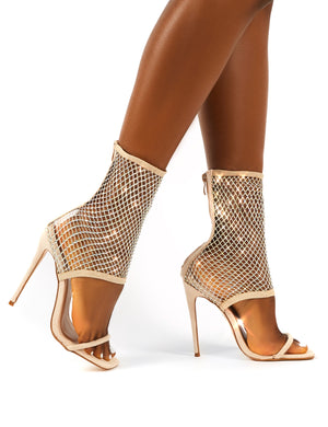 Double Take Nude Fishnet Ankle Stiletto High Heels