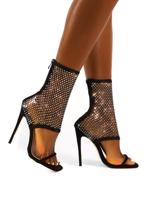 Double Take Black Fishnet Ankle Stiletto High Heels