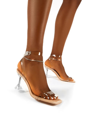 April Nude Perspex Diamante Ankle Chain Square Toe Heels