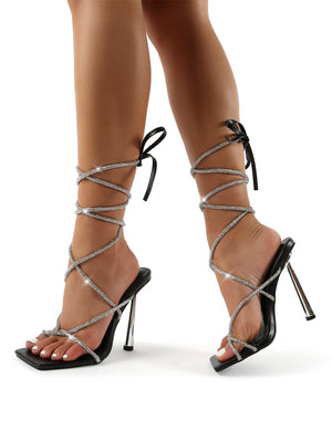Lacey Black Pu Diamante Lace Up Square Toe Heels