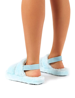 Lullaby Blue Fluffy Strap Back Slippers
