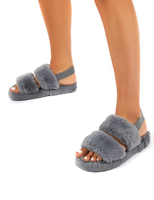 Lullaby Grey Fluffy Strap Back Slippers