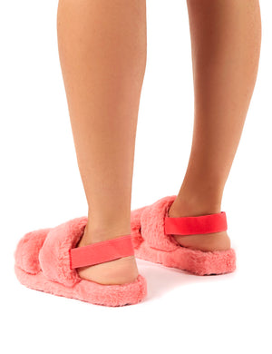 Lullaby Pink Fluffy Strap Back Slippers
