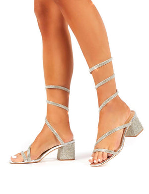 Meera Silver Wrap Around Ankle Mid Block Heels