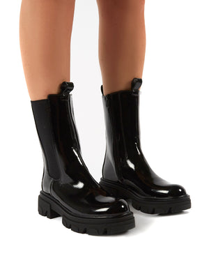 Recess Black Patent Chunky Sole Calf High Boots