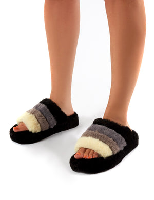Sleepy Black Fluffy Sliders Faux Fur Slippers