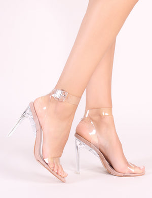 Slice Strappy Perspex High Heels in Nude