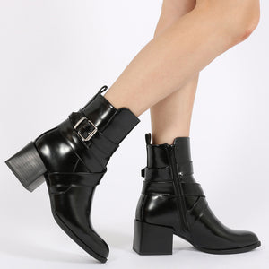Willa Buckle Detail Cubed Heel Ankle Boots in Black High Shine