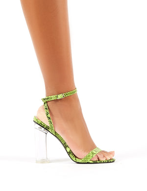 Blink Neon Green Snakeskin Barely There Perspex Round Block Heels