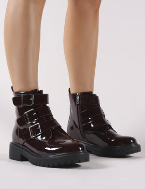 Brag Chunky Ankle Boots in Burgundy Patent