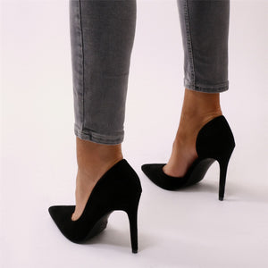 Tipsy Cut Out Court Heels in Black Faux