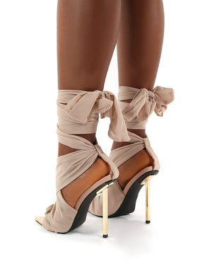Huni Wide Fit Nude Ribbon Tie Up Gold Stiletto Heels
