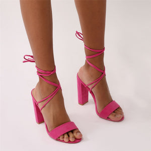 Suzu Strappy Block Heels in Pink Faux Suede