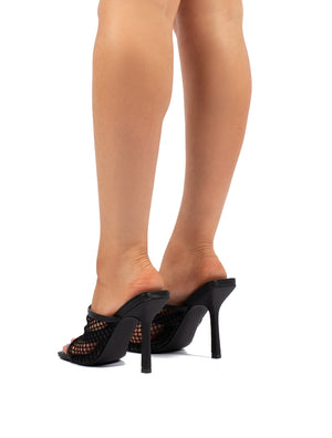 Cyra Black Fishnet Heeled Mule