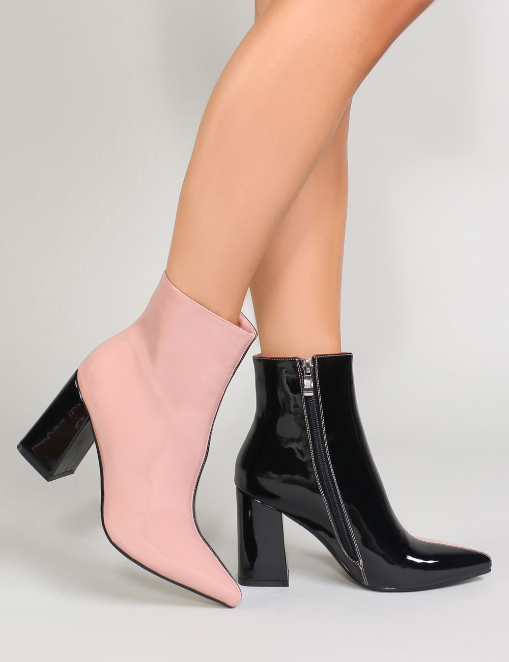 Chaos Two Tone Pointed Toe Ankle Boots
