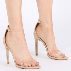 Daisy Clear Strap Stiletto Heels in Nude