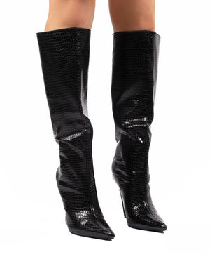 Define Black Croc Stiletto Heeled Boots