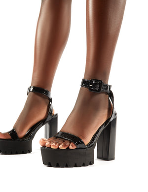 Deja Vu Cleated Platform Block Heels in Black Croc