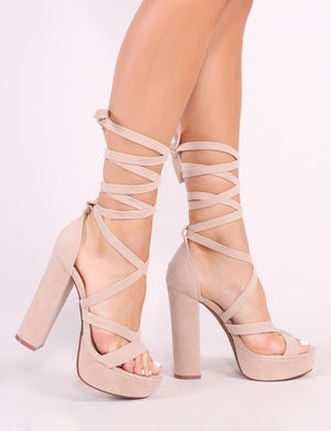 Stella Lace Up Heels in Nude Faux Suede
