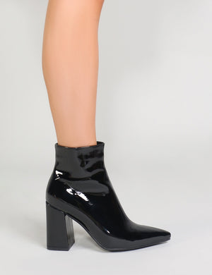 Empire Pointed Toe Ankle Boots in Black