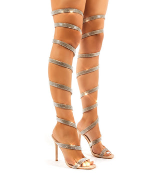Stunner Diamante Nude Thigh High Spiral Wrap Around Stiletto High Heels