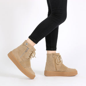 Christa Strap Detail Hi Top Creepers in Taupe Faux Suede