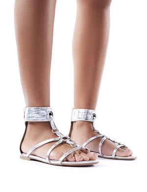 Justice Silver Croc Strappy Sandals