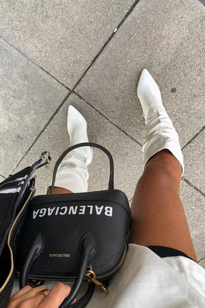 Mine Wide Fit White PU Knee High Boots