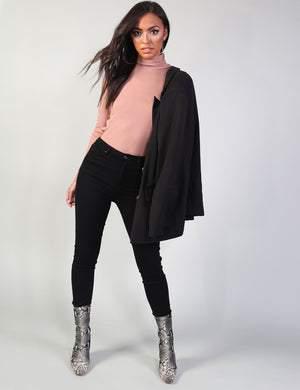 Pink Rib Roll Neck Top
