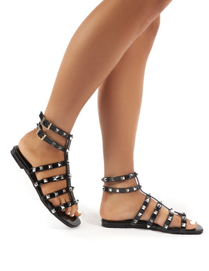 Publicity Black Stud Detail Strappy Flat Sandals