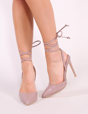 Qween Stud Lace Up Court Heels in Blush Pink