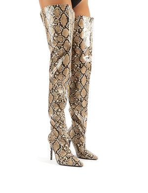 Rita Snakeskin Stiletto Heeled Over the Knee Boots