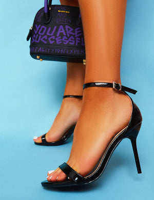Rule Black Patent Stiletto Heel Barely Theres
