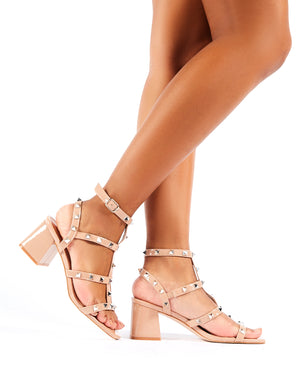 Always Studded Strappy Block Heels in Nude Patent