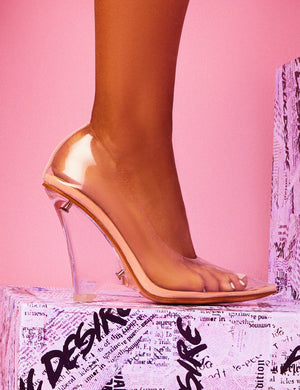 Encore Nude Perspex Wedge Heeled Court Shoes