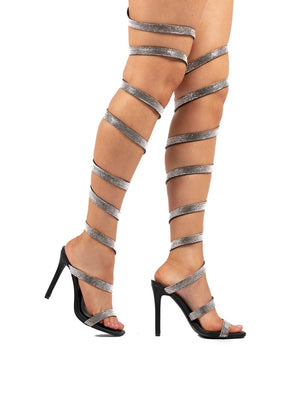 Stunner Diamante Black Thigh High Wrap Around High Heels