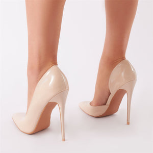 Sweet Cut Out Court Heels in Nude Patent