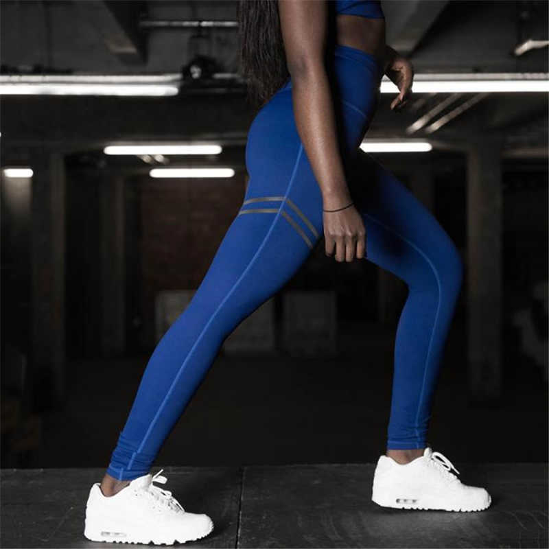 Anti Cellulite Compression Slim Leggings - Blue Stripped