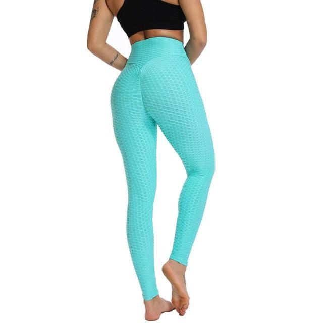 Anti Cellulite Compression Leggings - Yellow Textured