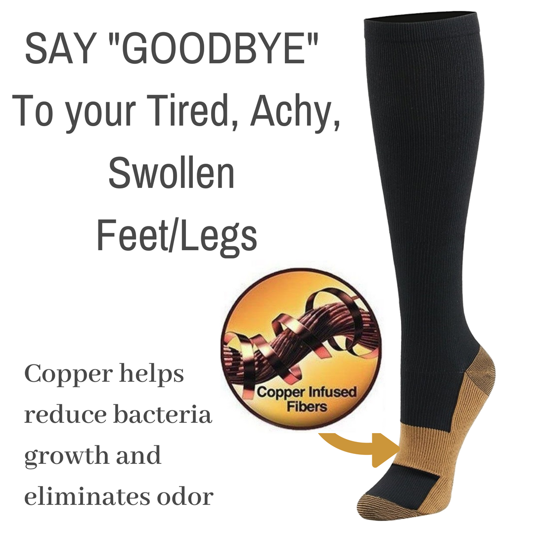 Copper Infused Compression Socks - White (Pack of 2)