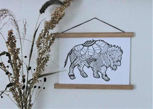 8X10 ABSTRACT BISON PRINT
