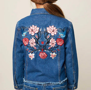 Denim jacket with embroidery details on the back