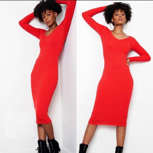 Red Ribbed Fitted Dress