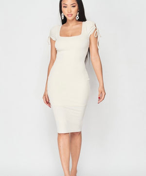 Oyster Fitted Rib Dress
