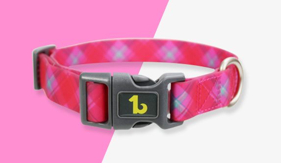 Be One Breed - Silicone Collar -  Pink Plaid